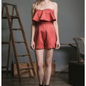 red shorts jumpsuit romper S J.O.A. Los Angeles